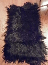 Real Genuine Black Goat Fur Chaps Rug  Plate Throw New Authentic Fur