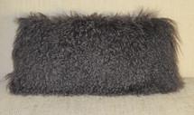 Real Dark Gray Mongolian Grey Tibetan Lamb Fur Pillow made in USA Tibet cushion faux suede back