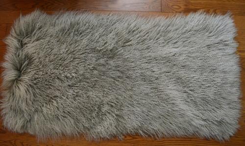 Mongolian lamb fur grey 2 tone rug throw plate