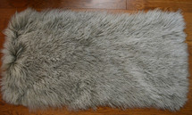 Mongolian lamb fur grey 2 tone rug throw plate