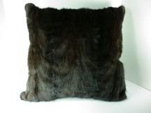 Mink Fur Sections Pillow Real Ranch Brown New made in USA fur cushion 20x20