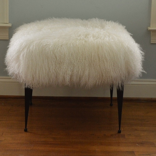 Real Natural White Mongolian Lamb Fur Stool Tibet Lamb Footstool Bench Ottoman