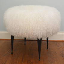 Real Mongolian lamb stool with black iron legs