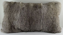 Real Natural Grey Long Hair Rabbit Fur  Pillow New made in USA gray cushion
