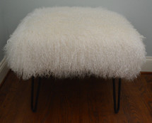 Mongolian Lamb Fur Bench Natural White Tibet Lamb Stool Made in USA Ottoman