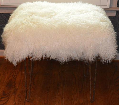 Mongolian Lamb Fur Bench Natural White Tibet Lamb Stool Made in USA Ottoman faux suede back