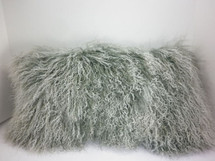 Real Mongolian Tibetan Lamb Fur Gray  Snowtop Pillow  made in USA Tibet cushion