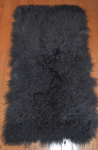 Real Mongolian Tibet  Lamb Fur Dark Gray Rug Plate Throw New genuine grey Wool