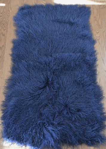 dark blue Mongolian  lamb throw rug plate