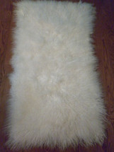 Real Mongolian Tibet  Lamb Fur Bleached White  Rug  Plate  Throw  genuine