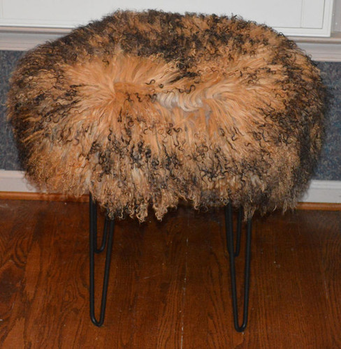Real Mongolian Lamb Fur Stool 2 ToneTibet Lamb Bench Made in USA New Ottoman