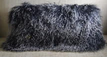 Mongolian lamb pillow black with white tips Soft Curly Wool Fur Cushion with insert included