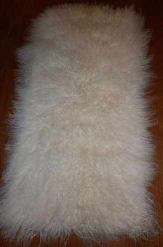 Real Mongolian  Tibet  Natural White Lamb Fur Rug  Plate  Throw New  genuine