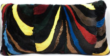 Real Mink Fur Sections Pillow sheared multicolor genuine authentic