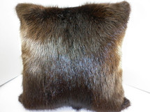 Real Long Hair Beaver Fur Pillow 20x20 New  made in USA genuine