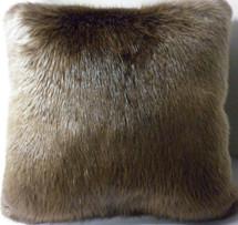 Real Long Hair Blonde Beaver Fur Pillow 20x20 made in usa fur cushion