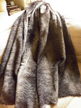 Fur Throw Real Laser Sheared Charcoal Brown Rabbit New made in usa