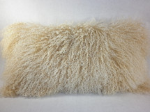 Mongolian Lamb Fur beige 2 tone  real genuine Pillow New cushion  USA
