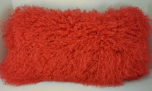 Real Genuine Mongolian Tibetan Lamb Fur  Red Pillow  made in USA Tibet cushion