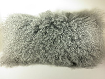 Real Genuine Mongolian Lamb Fur Dyed Gray Pillow New made in USA Tibet cushion