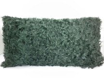 Real Genuine Kalgan Lamb Fur Forest Green Pillow New  made in USA cushion