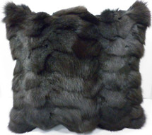 Real genuine dyed Gray Fox Sections Fur Pillow New  made in USA grey  cushion