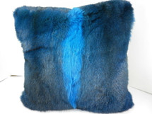 Real Genuine Dyed Blue New Zealand Opossum Fur Pillow New  made in USA cushion