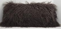 Dark Brown Mongolian lamb fur pillow