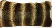 Real  Dyed Brown Chinchilla Sheared Rabbit Fur Pillow  made in USA  cushion Genuine
