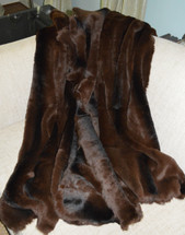 Brown sheared rabbit throw