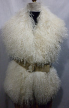 Natural White Mongolian lamb Collar Vest