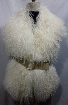 Natural White Mongolian lamb Collar Vest