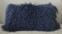 Mongolian Tibetan Lamb Dark Blue Navy Fur Pillow New made in USA Real Tibet cushion