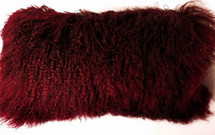 Mongolian Lamb Fur Pillow Burgundy New made in USA Real Tibet cushion Tibetan Wine