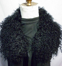Mongolian  Lamb Fur  Club Collar Black tibetan detachable made in the USA