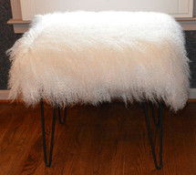 Mongolian  Bench Bleached White Tibet Lamb Stool  USA made  Fur Ottoman