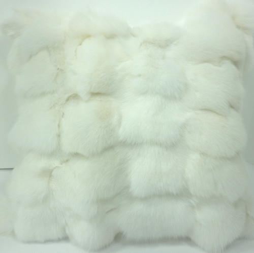 Real White Fox Fur Pillow