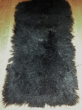 Real Mongolian ( Tibet ) Dyed Black Lamb Fur Rug / Plate Throw New genuine Wool