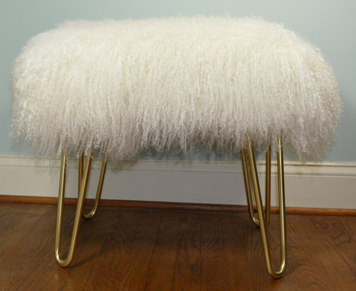 Real Natural White Mongolian Lamb Fur Bench Tibet Lamb Stool Ottoman Brass Legs