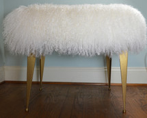 Mongolian lamb stool bench stool ottoman gold iron legs