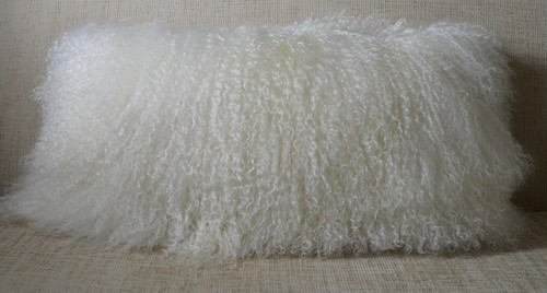 Mongolian lamb pillow Real 1st quality soft curly wool fur with coordinating  faux suede backing.  Natural White ( off white) cushion with insert included. All sizes are available.