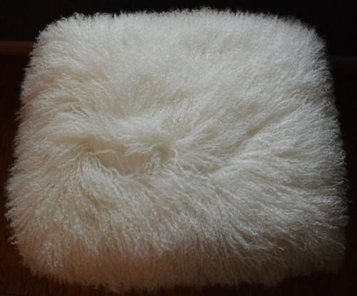 Real Mongolian Lamb Fur Bench Stool Ottoman Tibet Lamb Footstool gold wood legs