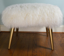 Mongolian lamb Fur Stool Bench gold wood legs