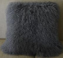 "Real Mongolian lamb Pillow Grey 20 x 20 ""  Fur made in USA Tibet cushion Wool"