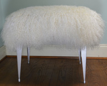 Mongolian Lamb Stool  fur Tibet Lamb Bench Vanity Seat  Silver legs Bench Ottoman foootstool    n