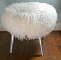 Mongolian Lamb Stool Silver Mid Century wood legs New USA made Tibet  Sheepskin