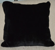 Real Mink Fur Pillow Black Sheared Sections