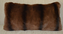 Real Sheared Weasel Fur Pillow dyed brown
