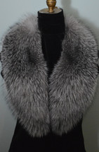 Fox Fur Collar Indigo Blue Frost Detachable