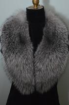 Fox Fur Collar Indigo Blue Frost Detachable